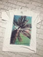 Mens T-Shirt George White Hawaii Printed Short Sleeve Casual Cotton Size S