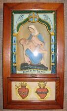 Antique Catholic Shrine Blessed Mother Jesus Reverse Painted Candle Holders (O)