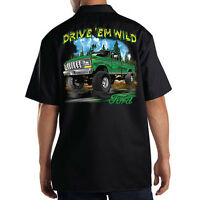 Dickies Black Mechanic Work Shirt Ford Drive Em Wild Old School Truck