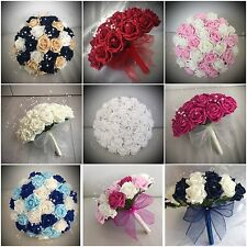 RED Wedding flowers artificial bouquets bride bridesmaid button holes wand