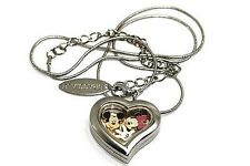 BRACCIALE DISNEY HEART LOCKET MICKEY MINNIE MOUSE SILVER NECKLACE FLOATING CHARM