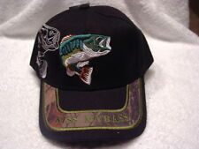 KISS MY BASS OUTDOOR FISHERMAN FISHING FISH BASEBALL CAP HAT ( BLACK )