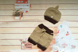 NEW Newborn Baby Cable Knit Hat & Pants Crochet 2 Piece Set Photo Props, brown