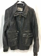 Vintage LEVI'S Faux Leather Men Small Brown Coat Jacket Bomber Flight Motorcycle