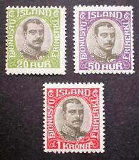 ICELAND 1920-30 MH Officials Scott. #O45 - O47 key values