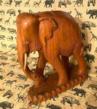 "Vintage SOLID TEAK? WOOD Beautifully Hand Carved Elephant 9"" Sculpture Statue"