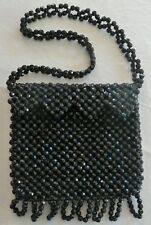 Vintage 1960's Black BEADED PURSE Hand Made in Hong Kong