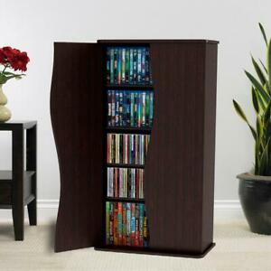 "Small Media 4 Shelf Cabinet Curved 2 Doors 35"" Espresso CDs DVDs BluRays Storage"