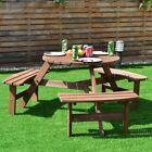 GIANTEX 6-Person Patio Wood Picnic Table Beer Bench Set  Outdoor Patio