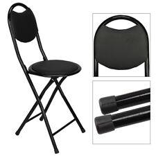 Black Folding Breakfast Bar Stool Round Kitchen Office Padded High Chair UK