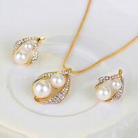 Conjunto de joyería nupcial Fiesta Boda Collar Perlas Cristal Pendientes AnilQA