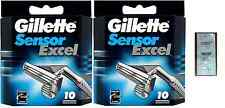 Mens Gillette Sensor Excel Razors Blades, 20 Cartridges + Free LovingCare Packet