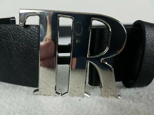 True Religion Cain TR Silver Buckle Belt Men's Size 36-38 Black Leather TR301010