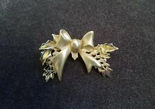Ribbon Bow Pin Brooch Pendant Vintage Avon Brushed Gold Tone