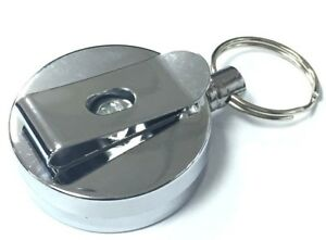 NEW Steel Retractable Pull Chain ID card Holder Reel Recoil KeyChain Belt Clip