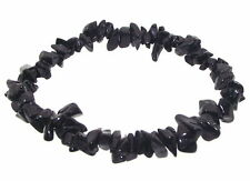 Black Tourmaline GEMSTONE Chip Bracelet for Protection