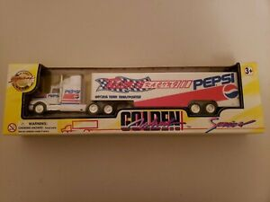 Golden Wheel Pepsi Cola Semi Truck & Trailer Die Cast Metal NIB