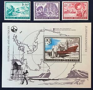 Belgium Series 1966 Antarctic Expedition South Pole Stamps & Block Complete MNH