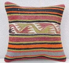 16''x16'' Unique Aztec Kilim Pillow Case, Area Rug Vintage Body Cushion 40x40cm