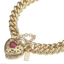 18K Yellow Gold GL Women's Solid Medium Euro Bracelet & Ruby Red Filigree Heart