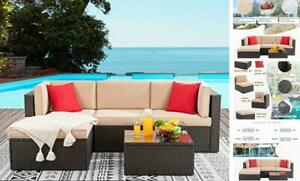 Wicker Conversation DSF 5 Pieces Sectional Patio Furniture Sets, Neutral