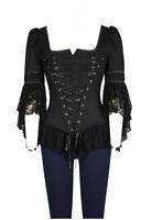 Plus Size Black Gothic Wide Shoulder Lace Boned Corset Top  1X 2X 3X 4X