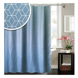 Blue Canyon Polyester Blue Geometric Shower Curtain 180x180 cm Incl Hooks NEW