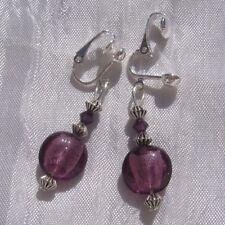 clips ou boucles d'oreilles dormeuses au choix verre mauve cristaux «Mure» N°2