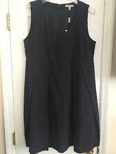 NWT Authentic Burberry London Eyelet Sleeveless Navy Dress US 14
