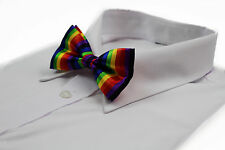 MENS RAINBOW VERTICAL STRIPE BOW TIE SILK PRE-TIED  BOWTIE WEDDING PARTY