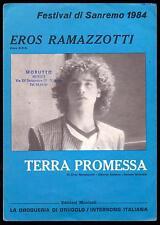 EROS RAMAZZOTTI SPARTITO MUSICALE TERRA PROMESSA - MUSIC SHEET - SANREMO