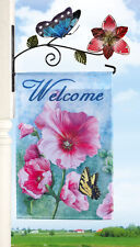 Welcome Flag & Metal Hanger Floral Garden Butterfly Spring Flowers Deck Post New