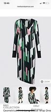 Marks and Spencer Geometrical Print Long Sleeve Wrap Dress UK16 RRP £39.50