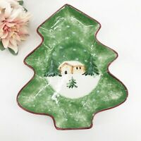 "The Cellar Holiday LOG CABIN Tree Shaped Dish 13"" hand painted in Italy 1998"
