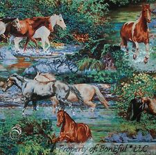 BonEful Fabric FQ Cotton Quilt Equestrian Wild HORSE S River Stream Scenic Water