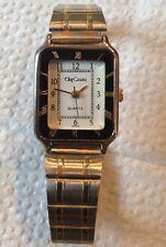 "Oleg Cassini Women's Watch 2-Tone Metal Band Watch Square Black White Dial 6"" L"