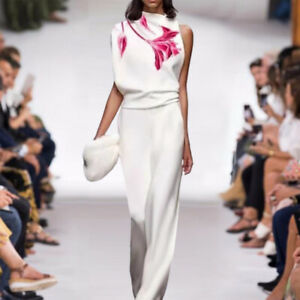 sale wholesale Holiday runway Crew neck Sleeveless Print sexy Slim Pants suit