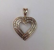 10K Yellow Gold .50 ct Diamond Heart Double Row Pendant