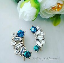 Statment gold blue, green & white crystal stone cluster curved hook earrings