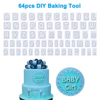 64pc/set Plastic Cookies Fondant Cutter Alphabet Letters Shape Decor Baking Tool