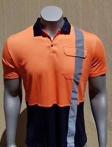 BAMBOO WORK SHIRT - Men - Short Sleeve - Reflector - Orange - Hi Vis Safety Wear