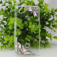 3D diamond dragonfly crystal cover case fr Sony Ericsson lt18i Xperia Arc s pink