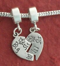 Sterling Silver Lil Big Sister Charm 925 Heart SIS Break Share little European