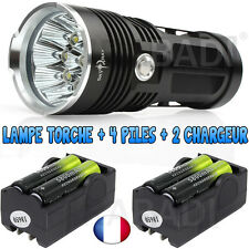 LAMPE TORCHE 9 LED 25000 LUMENS LED CREE FLASHLIGHT + 4 PILE 18650 + 2 CHARGEUR