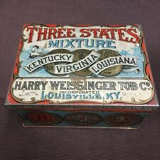 Vintage Three States Mixture Tobacco Tin Kentucky Virginia Louisiana