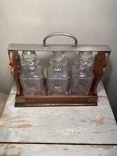 Antique Betjemann The Tantalus 3 Bottle Liquor Decanter Cabinet Caddy Set