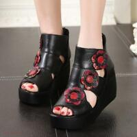 Open Toe Platform Flowers Women Hollow out  Sandals High Wedge Heel Roman Shoes