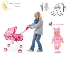 Carrozzina Giocattolo con Bambola Effetti Sonori Omaggio per Bambole Bambolotti