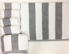 6 PC SET TOMMY HILFIGER WHITE+GRAY STRIPE 100% COTTON BATH,HAND TOWEL+WASH CLOTH