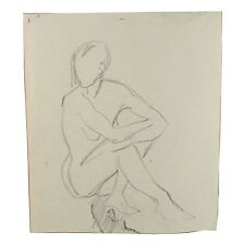 Abstract Sitting Female Nude Arms Crossed Life Drawing 1950 Stella Rash